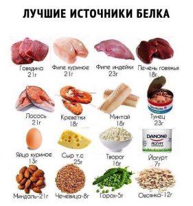 список продуктов богатых белком