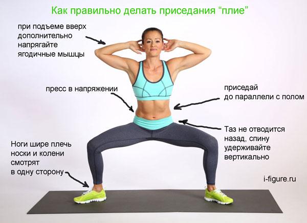 Упражнения плие для похудения ягодиц в домашних условиях для девушек