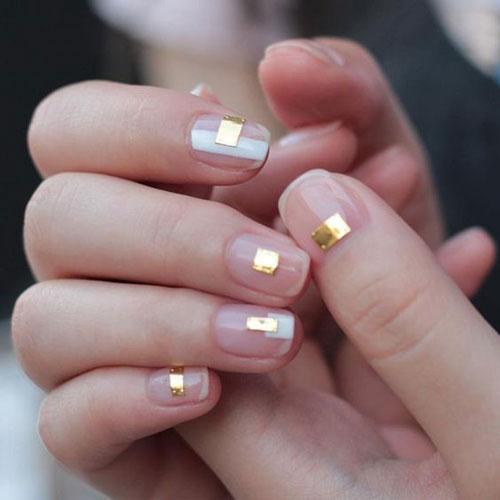 осенний маникюр с фольгой на короткие ногти