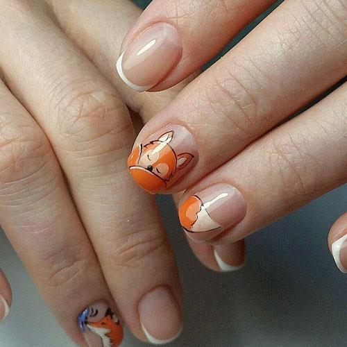 осений французский маникюр на короткие ногти с рисунком