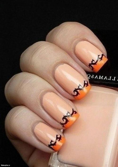 осений французский маникюр на короткие ногти оранжевый