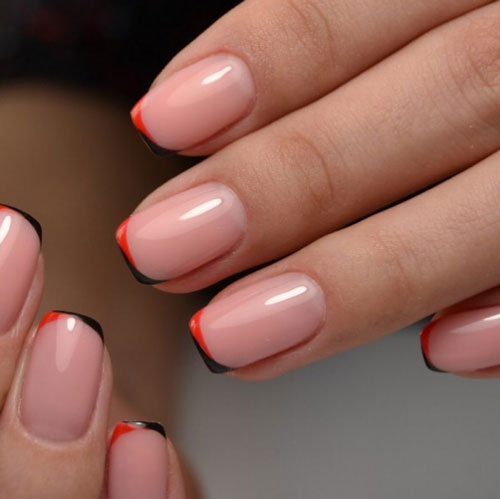 осений французский маникюр на короткие ногти