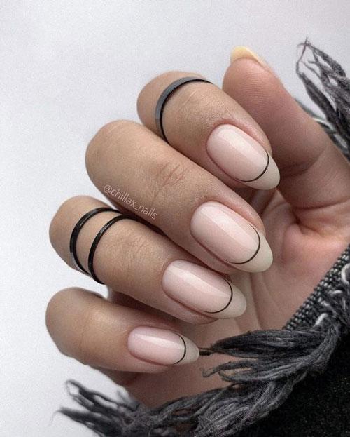 французский маникюр на короткие ногти нюд