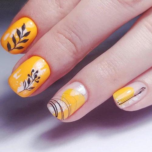 рисунок на коротких ногтях осень 5