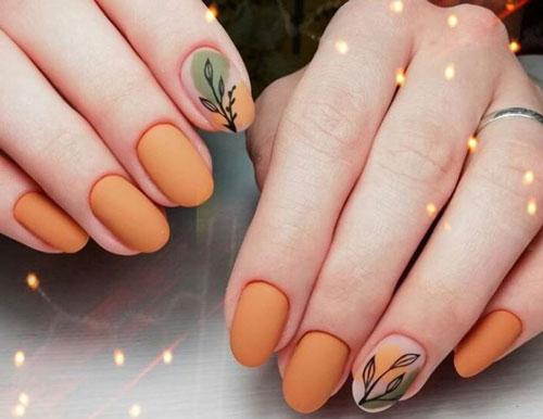 маникюр на короткие ногти с рисунком на тему осень