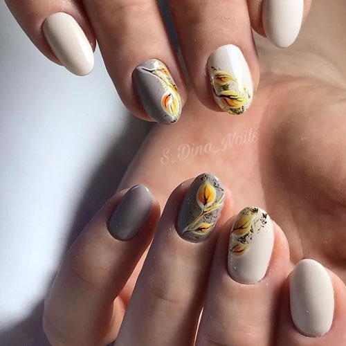 рисунок на коротких ногтях осень 4