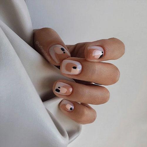 осенние листья на коротких ногтях 4