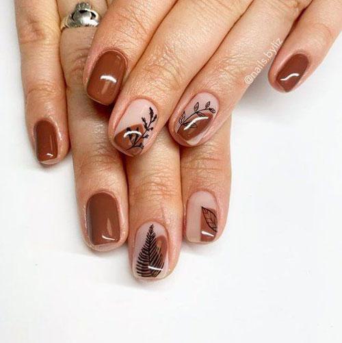 осенние листья на коротких ногтях 2
