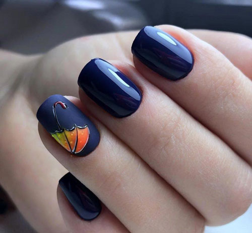 рисунок на коротких ногтях осень 3