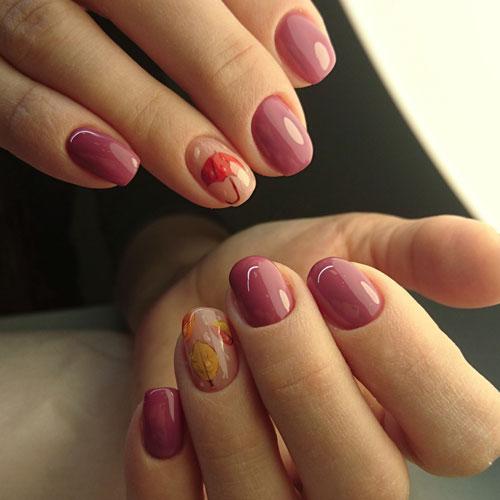 рисунок на коротких ногтях осень