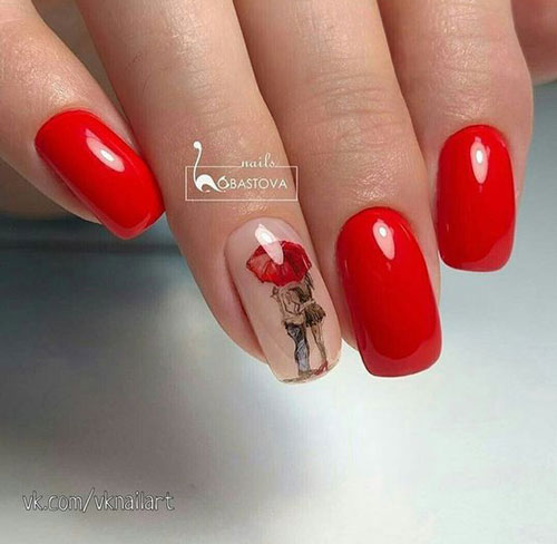 красный осенний маникюр с рисунком