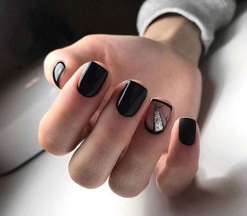 черный красивый дизайн маникюра