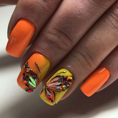 маникюр дизайн 2021 осень на короткие ногти