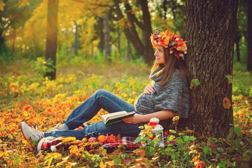 осенняя фотосессия беременных на природе 9