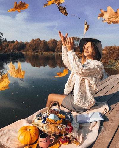 позы для фотосессии беременной на природе осенью фото