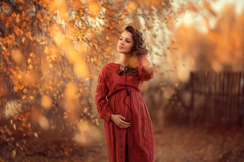 образ для фотосессии беременной осенью 2