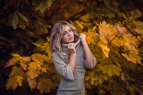 красивая фотосессия для девушки осенью 10