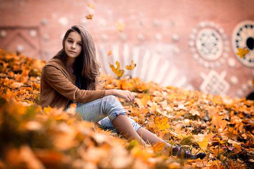 красивая фотосессия для девушки осенью 2