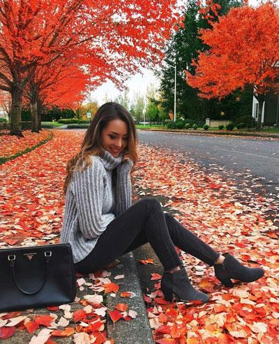 красивая фотосессия для девушки осенью