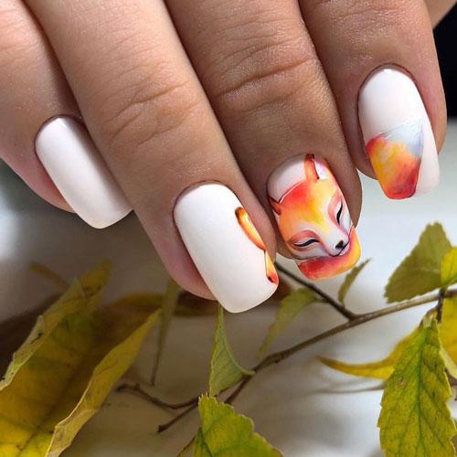 красивый маникюр на короткие ногти осень