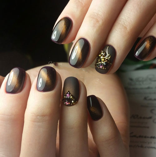 маникюр на короткие ногти осень однотонные