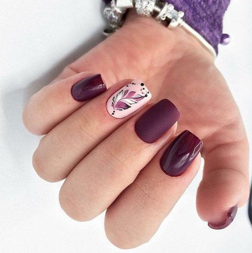 маникюр на короткие квадратные ногти осень