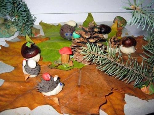 поделки из природного материала для начальной школы на тему осень своими руками 9