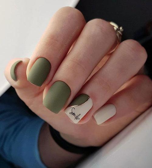 маникюр дизайн осень на короткие ногти квадратные 9
