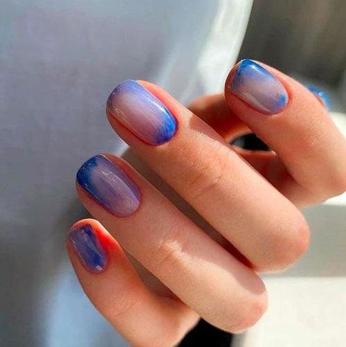 маникюр 2021 осень короткие ногти нежный дизайн 7
