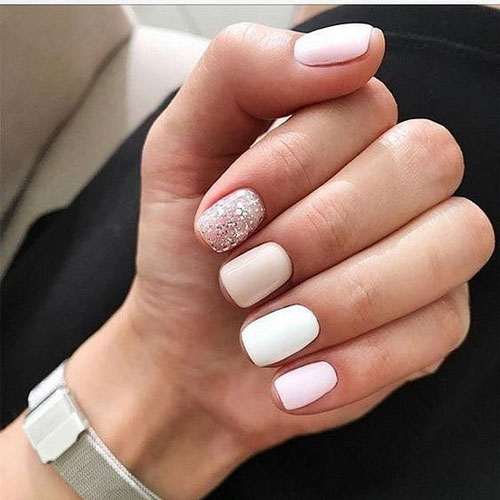 маникюр 2021 осень короткие ногти нежный дизайн 5