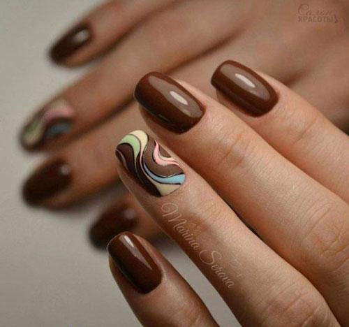 маникюр на короткие ногти осень 2021 года 8