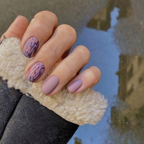маникюр на короткие ногти осень 2021 года 4